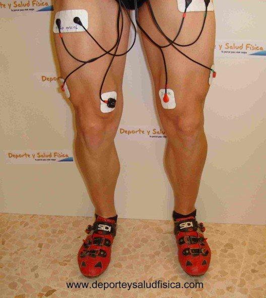 Cuadriceps de pie con electroestimulación
