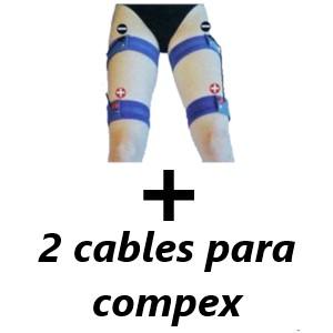 Pack kit 4 bandas elásticas conductivas para piernas + 2 cables para compex