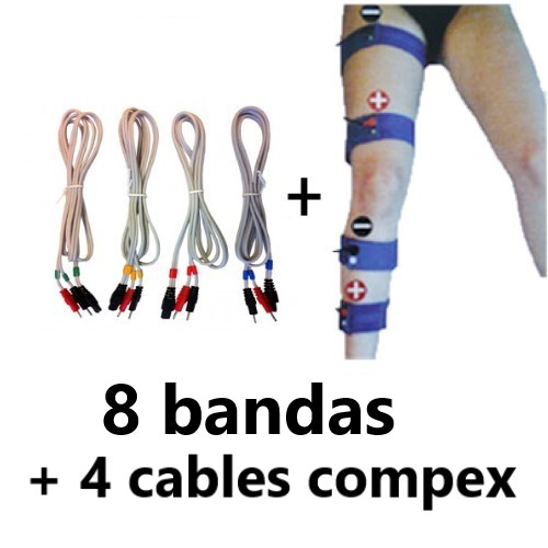 pack de 8 bandas elasticas conductivas+ cables para compex