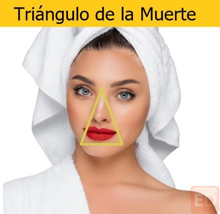 Electroestimulador facial y triángulo de la muerte. Cuidado al aplicar electroestimulación facial en esa zona.